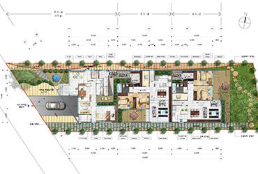 1f floor plan of townhouse, Sydney, Australia